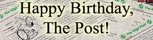 The Post 10th birthday banner as designed by Tavaron