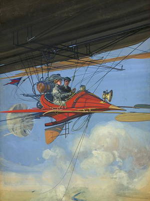 A futuristic couple in 1900 flying around in a personal vehicle.