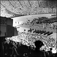 BBC Television cameras follow the opening of the 1948 London Olympics at Empire Stadium, Wembley.