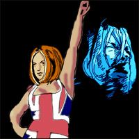 Spice Girl Geri Halliwell, in her Union Jack dress, poses in front of a picture of Kurt Cobain.