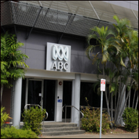 The front of the ABC building in Australia with the ABC logo above the entrance.