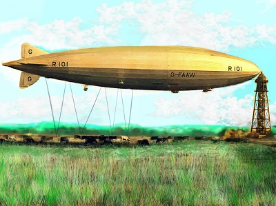 Illustration of Airship R101 at mast, in field with cows underneath.