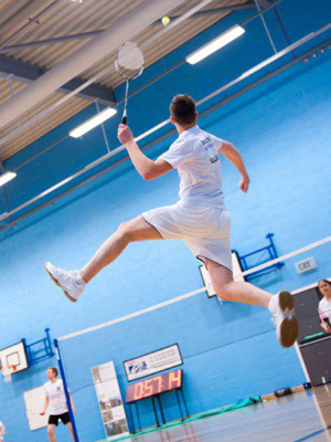 Allan Ogle playing badminton