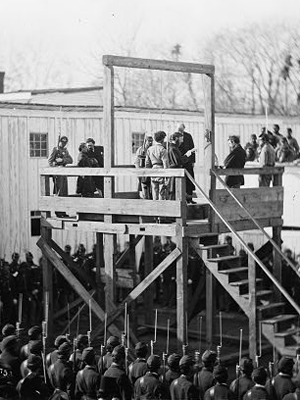 Henry Wirz on the scaffold at conclusion of the Andersonville Trial. Picture courtesy of Library of Congress