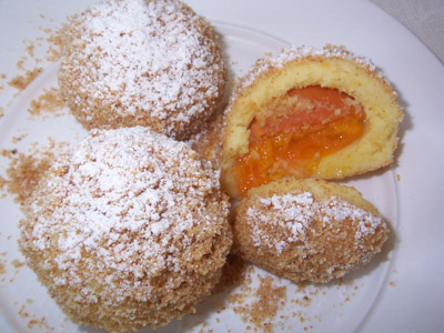 A photograph of some Austrian Apricot Dumplings.