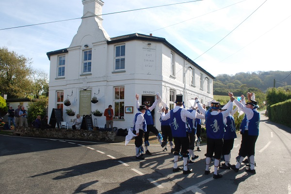Morris Dancers outside the Highfield Inn
