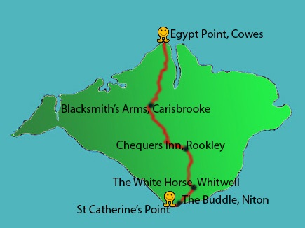 A map of the Isle of Wight North-South Run