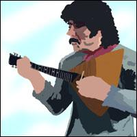A man plays a balalaika - a triangular guitar-shaped instrument.