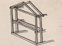 Sketch showing balloon frame construction method.