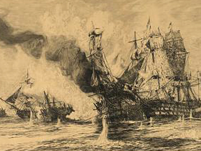 Sepia drawing of a burning ship.