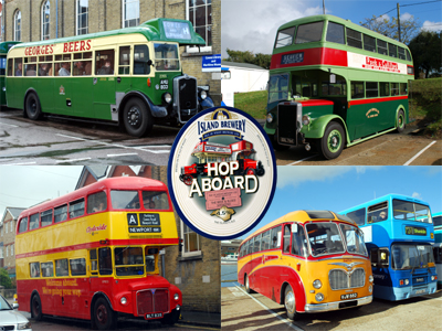 Historic buses with Hop Aboard Ale logo