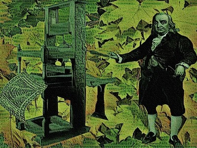 Ben Franklin with a Printing Press and Leaves