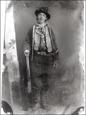An old black and white photograph of Billy the Kid, public domain
