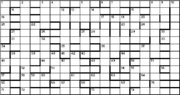 Bluebottle's Christmas Crossword 2012