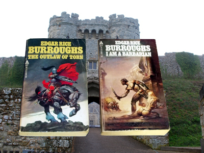 Edgar Rice Burroughs' historical novels in front of the gatehouse of Carisbrooke Castle