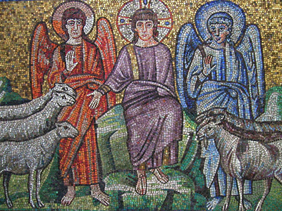 Mosaic showing the separation of sheep and goats