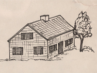 Drawing of a Cape Cod style house.