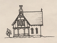 Drawing of a carpenter Gothic style house.