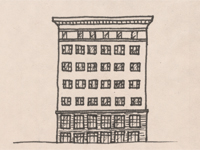 Drawing of a Chicago School style building.