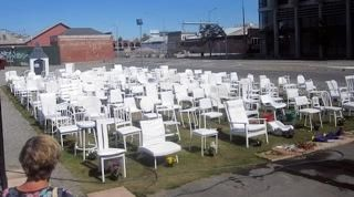 The chairs in the Red Zone.