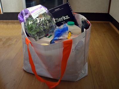 Clerks DVD in a grocery bag