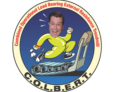 A NASA mission patch for a piece of exercise equipment on the ISS. NASA named it for Colbert.