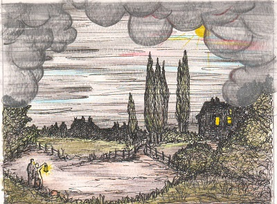 An artist's impression of the sky turning dark during the day.