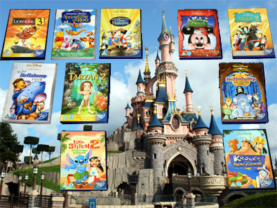 DVDs in front of the Castle at EuroDisney