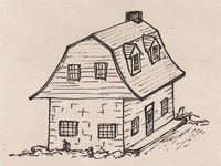 Drawing of a Dutch Colonial style house.