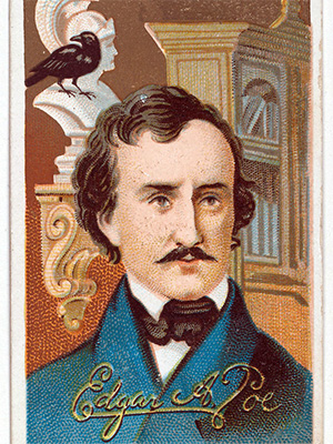 Edgar Allan Poe with Pallas and Raven