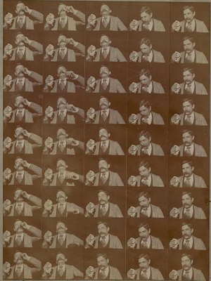 Stills from Edison's Kinetoscopic 1894 film record of a sneeze.