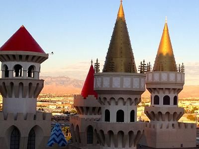 The castle like towers of the Hotel Excalibur