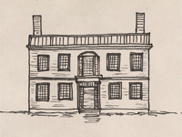 Drawing of a Federal style house.
