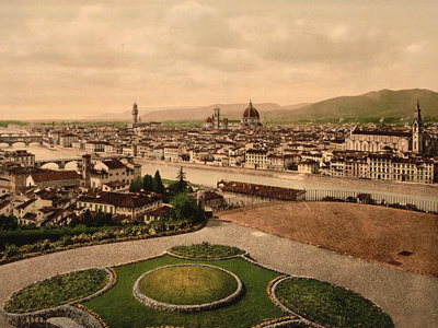 Historic print of Florence, Italy
