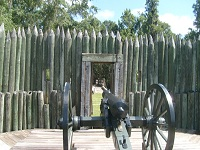 A photograph of a cannon at Fort Foster.