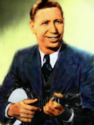 A painting of George Formby