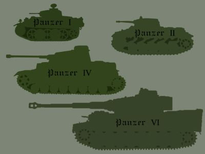 An artist's representation of German Tanks from WWII.