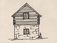 Drawing of a German Colonial style house.