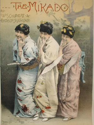 A poster of 'The Mikado'.  Image in the Public Domain