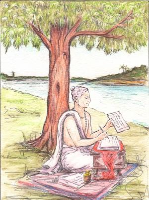 An illustration of Goswami Tulsidas sitting cross-legged, scribing, under a tree.
