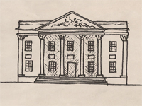 Drawing of a Greek Revival style house.