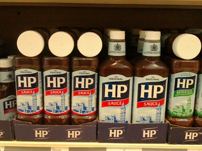 Bottles of HP Sauce.