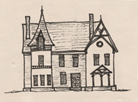 Drawing of a High Victorian Gothic style house.
