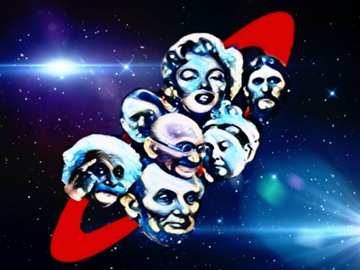 Red Dwarf Logo with historical figures in