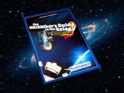 The Hitchhiker's Radio Show Live programme in front of a Galaxy