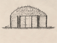Drawing of a hogan.