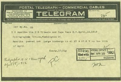 Telegram from SS Amerika warning about icebergs.