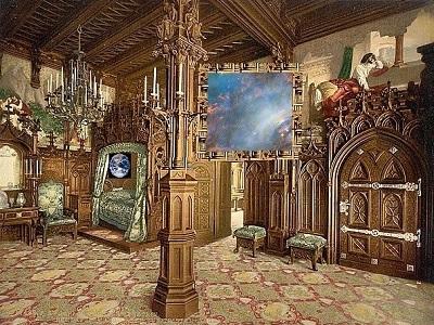 An imaginary bedroom in space, a bit grandiose.