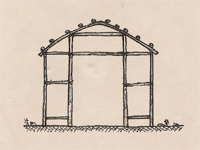 Section drawing of a longhouse.