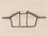 Section drawing of a pit house.